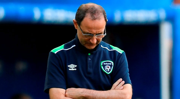 Martin O'Neill drops his head during the UEFA Euro 2016 Group E match between Belgium and Republic of Ireland in Bordeaux. Photo: Stephen McCarthy/Sportsfile