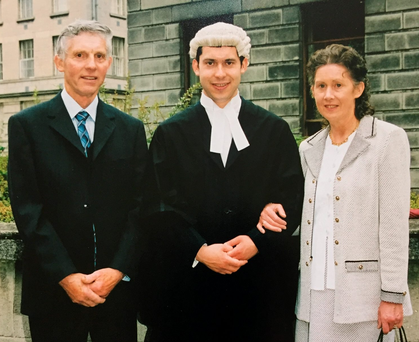 Tragic decline: Ronan, here with his dad Tom and mother Maura, has seen his father's mental health gradually get worse