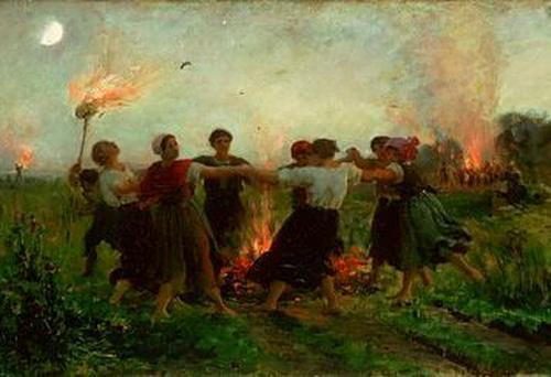 Who by fire: Jules Breton, La Fête de la Saint-Jean (1875), marking the feast of Saint John the Baptist on June 24, an important occasion in France
