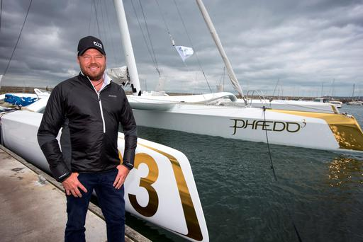 Making waves: Owner and skipper of Phaedo3 Lloyd Thornburg residing in Eddie Irvine's house in Dalkey. Photo: Colin O'Riordan