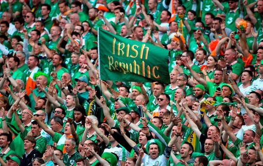 Irish supporters in full voice durihng the match against Sweden.. Photo: John Walton/PA
