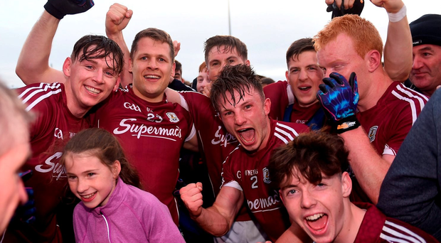 18 June 2016; Galway's players, including Thomas Flynn, Eddie Hoare, Shane Walsh and Eoghan Kerin celebrate with supporters following their side's victory in the Connacht GAA Football Senior Championship Semi-Final match between Mayo and Galway at Elverys MacHale Park in Castlebar, Co Mayo. Photo by Ramsey Cardy/Sportsfile