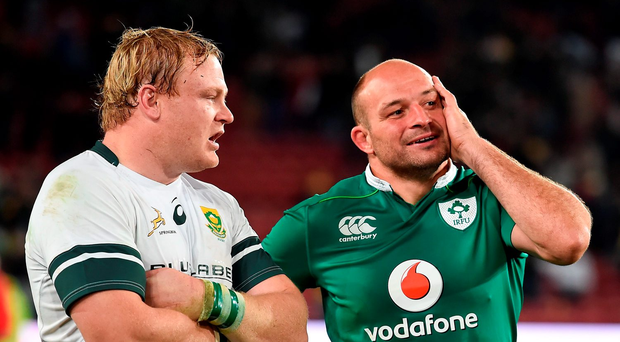 Team captains Adriaan Strauss and Rory Best after the game. Photo: Brendan Moran/Sportsfile