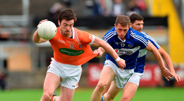 Aidan Forker of Armagh in action against Gearoid Hanrahan of Laois. Photo by Matt Browne/Sportsfile