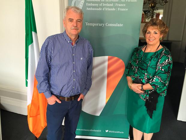 Super Junior Minister Finian McGrath and Irish Ambassador to France Geraldine Byrne Nason at the temporary Irish Consulate in Bordeaux