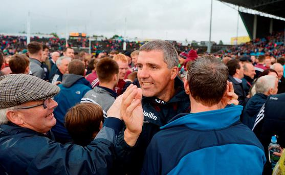 Galway manager Kevin Walsh celebrates with supporters after the Connacht GAA Football Senior Championship Semi-Final match between Mayo and Galway at Elverys MacHale Park in Castlebar, Co Mayo. Photo by Daire Brennan/Sportsfile