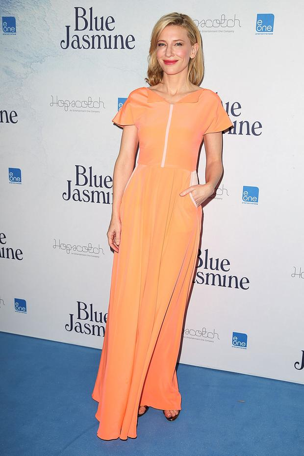 Cate Blanchett wearing Roksanda Ilincic at the Blue Jasmine Australian premiere at the Hayden Cremorne Orpheum on August 20, 2013 in Sydney, Australia. (Photo by Brendon Thorne/Getty Images)