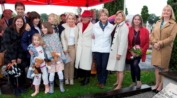 The Costello family, including John A Costello's grandchildren and great-grandchildren Olivia (6) and Sophie (10) Fitzgerald at the Deansgrange commemoration Photo: Colin O'Riordan
