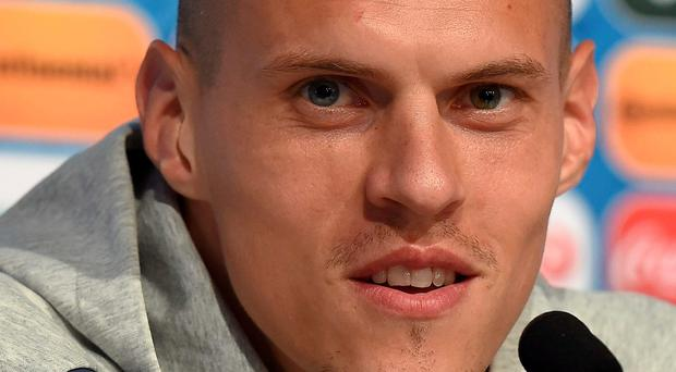 Martin Skrtel of Slovakia addressing a press conference of Slovakia's national football team. Photo: AFP PHOTO / UEFA