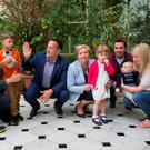 At Farmleigh House to mark the publication of the Paternity Bill were (from left) twins Alex and Eric O'Loughlin, (6) with their mother Sonia Varadkar and uncle, Minister for Social Protection Leo Varadkar; Tánaiste and Minister for Justice Frances Fitzgerald, with Andrew and Nicola Fox and children Harry (seven months) and Sophia (3) Photo: Fergal Phillips