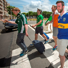Eoghan Cunnane (far left) from Limerick and his friends begin the trek from Bordeaux to Lille Photo: Mark Condren