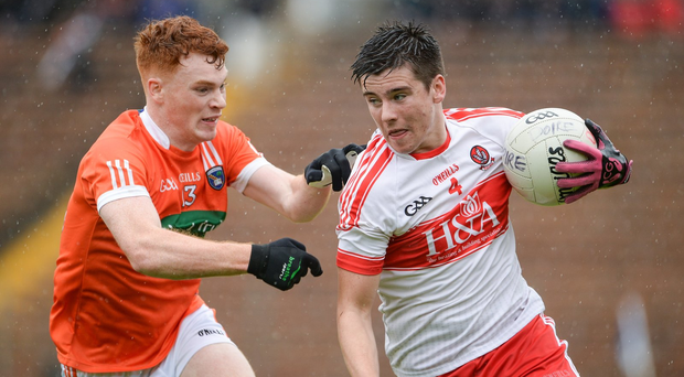 Conor Doherty in action against Jason Duffy Photo by Oliver McVeigh/Sportsfile