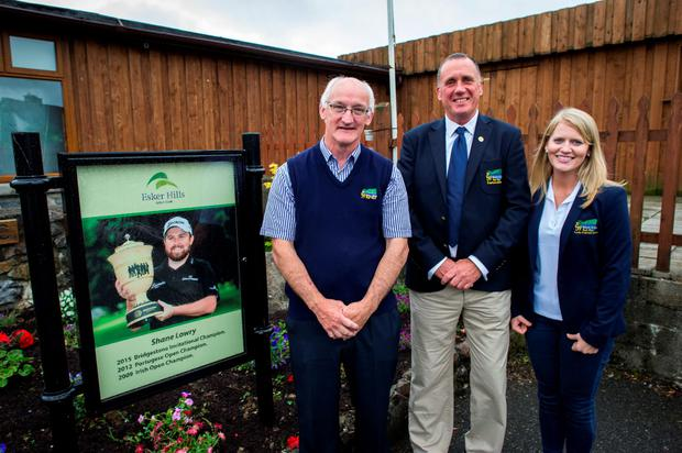 Esker Hills club manager Ray Molloy, Men's captain Greg Odd, and Lady Captain Deirdre Molloy Photo: Doug O'Connor