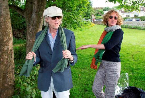 Bob Geldof at the Dalkey Book Festival with local entrepreneur Sonia Reynolds. Photo: Colin O'Riordan