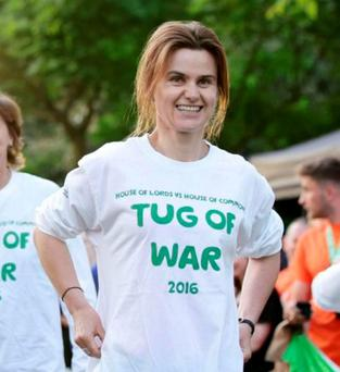 MP Jo Cox taking part in a Westminister charity event