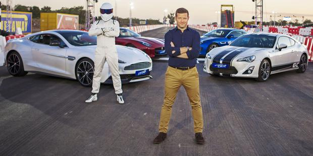 The Stig and Dermot O'Leary for The Getaway Car on BBC. Photographer: Charlie Sperring