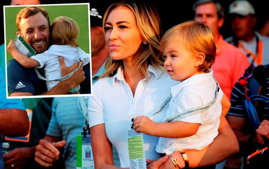 Dustin Johnson's fiancée Paulina Gretzky with son Tatum, inset, Dustin with Tatum at U.S. Open golf tournament at Oakmont Country Club. Picture: Michael Madrid-USA TODAY Sports