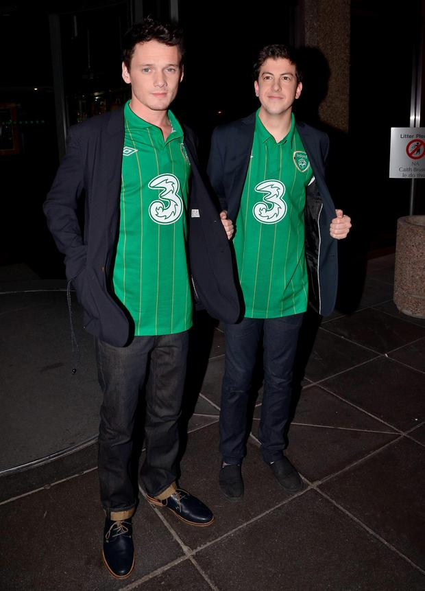 Christopher Mintz-Plasse & Anton Yelchin en route to The Late Late Show in 2011