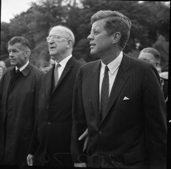 President Eamon De Valera with .President John F.Kennedy during his visit to Ireland in June 1963 *** Local Caption *** indo pic Scanned from the NPA archives.