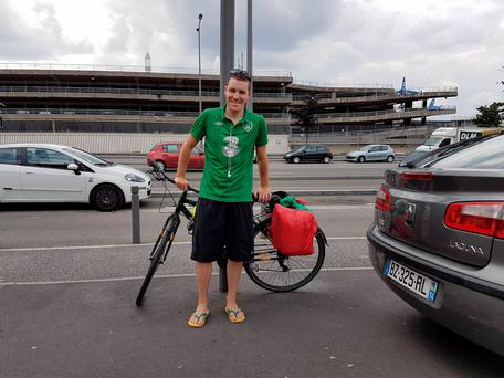 Ireland fan Ciaran Rowan and his bike