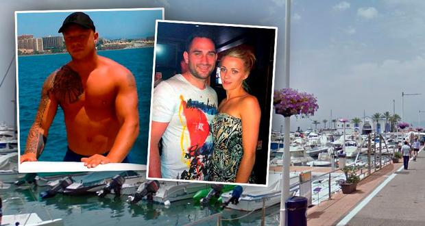 Dean Evans takes a boat trip in Marbella and (right) murdered Alan Ryan with Stacey Roche