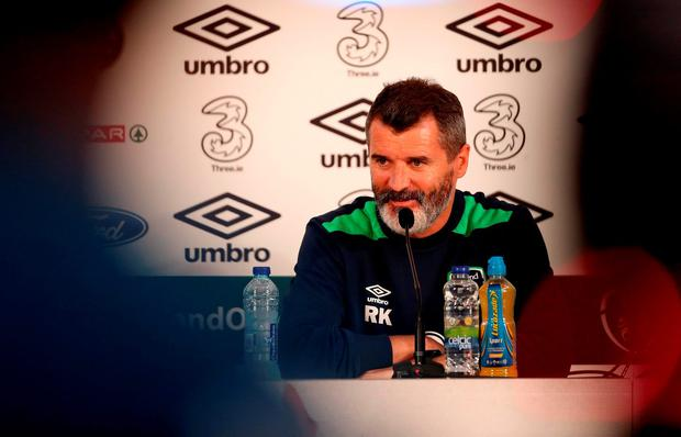 Republic of Ireland assistant manager Roy Keane during a press conference at the Stade de Montbauron, Versailles today