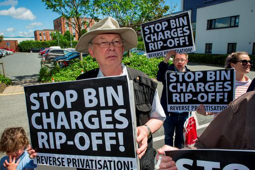 John Ward, Walkinstown, demonstrates against the bin charges. Photo: Doug O'Connor