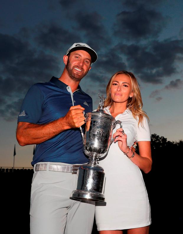 Dustin Johnson with his partner Paulina Gretzky. Photo: Getty