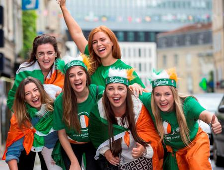 Our loyal supporters deserve a victory to cheer about: Irish fans Chloe Prendergast, Sinéad Ray, Ann Donnelly, Róisín Gallagher, Orla Core and Rachel Fitzpatrick from Dublin in Bordeaux for Ireland's clash against Belgium Photo: Mark Condren