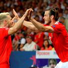 Wales' (l-r) Aaron Ramsey and Gareth Bale celebrate