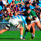 Andrew Porter of Ireland is tackled by Marcos Kremer of Argentina. Photo: Sportsfile