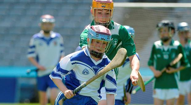 Liam Ó Donaile of Gaelscoil Thaobh na Coille in action against Jack O'Shea of Scoil Eoin Bosco during the Craobh Chorn Aghais match between Gaelscoil Thaobh na Coille and Scoil Eoin Bosco. Photo: Sportsfile