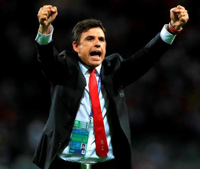 Wales manager Chris Coleman celebrates victory after the final whistle Photo: Mike Egerton/PA Wire