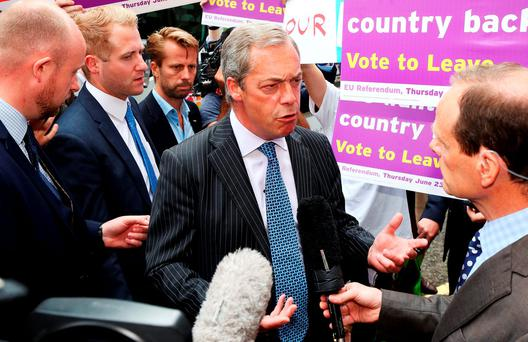 UKIP leader Nigel Farage speaks to the media. Photo: Philip Toscano/PA Wire