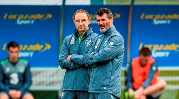 Republic of Ireland manager Martin O'Neill and assistant manager Roy Keane, right, during squad training. Republic of Ireland Squad Training, FAI National Training Centre, National Sports Campus, Abbotstown, Dublin. Picture credit: David Maher / SPORTSFILE
