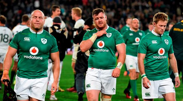 Dejected Ireland players, from left, Richardt Strauss, Dave Kilcoyne and Kieran Marmion after the Castle Lager Incoming Series 2nd Test game between South Africa and Ireland at the Emirates Airline Park in Johannesburg, South Africa. Photo by Brendan Moran/Sportsfile