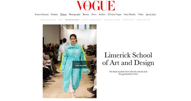 Limerick School of Art and Design as featured on Vogue Italia