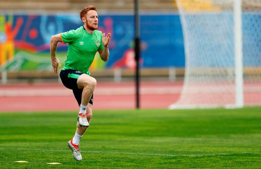 Republic of Ireland's Stephen Quinn was on the receiving end this morning