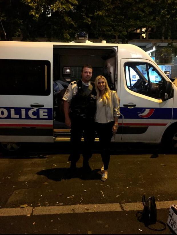 Claudine Keane poses with police officer after he brought her and son Robert Jnr home. Picture: @ClaudineKeane1