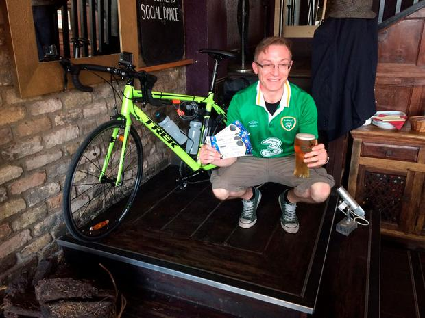 Alan Maxwell shortly before setting out on his 600km cycle