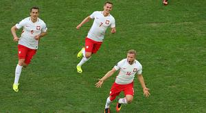 Jakub Blaszczykowski celebrates a goal for Poland at Euro 2016