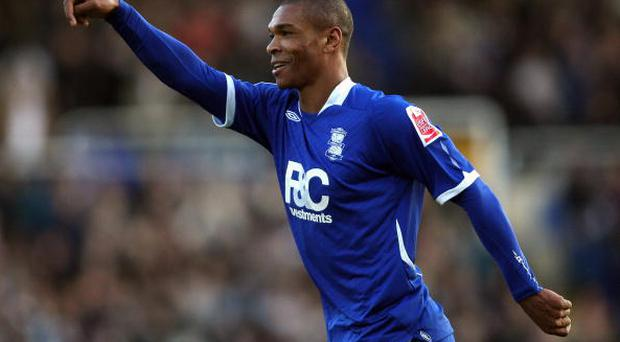 BIRMINGHAM, UNITED KINGDOM - DECEMBER 06: Marcus Bent of Birmingham celebrates his team's second goal second goal during the Coca Cola Championship match between Birmingham City and Watford at St Andrews on December 6, 2008 in Birmingham, England. (Photo by Hamish Blair/Getty Images)