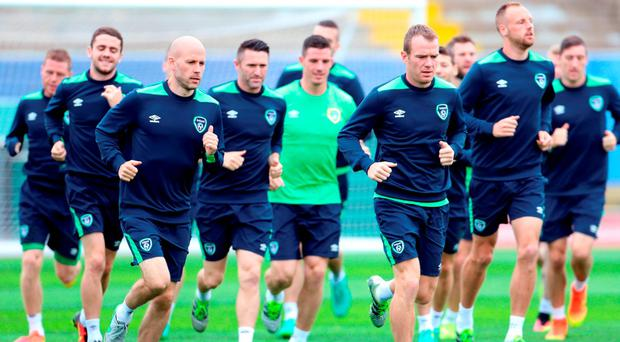 Irish squad during a training session at Stade de Montbauron, Versailles. Photo: PA