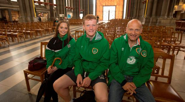 David also took time with his son Shane and family friend Susan O'Riordan to visit Lille Cathedral and offer a few discreet prayers that Ireland can deliver a famous victory tonight. Pic:Mark Condren