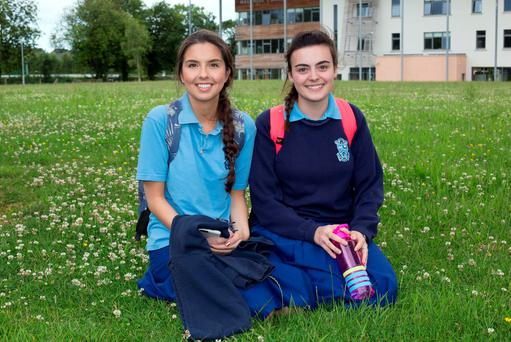 Lara Carroll, 18 and Ciara Higgins, 17 who were taking the Honours Chemistry Leaving Certificate Exam at Malahide Community School. Photo: Tony Gavin