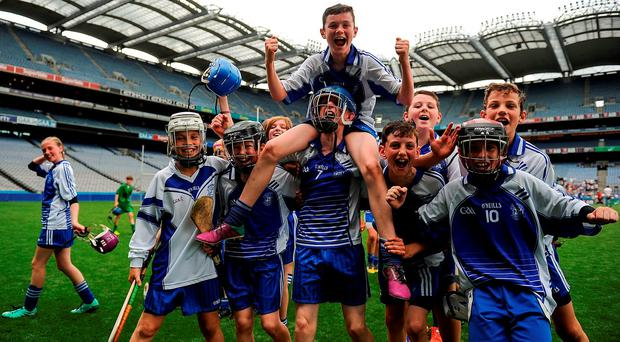 Players from Garrán Mhuire, Goatstown, celebrate following their victory at the Allianz Cumann na mBunscol finals in Croke Park yesterday. Photo by Sam Barnes/Sportsfile