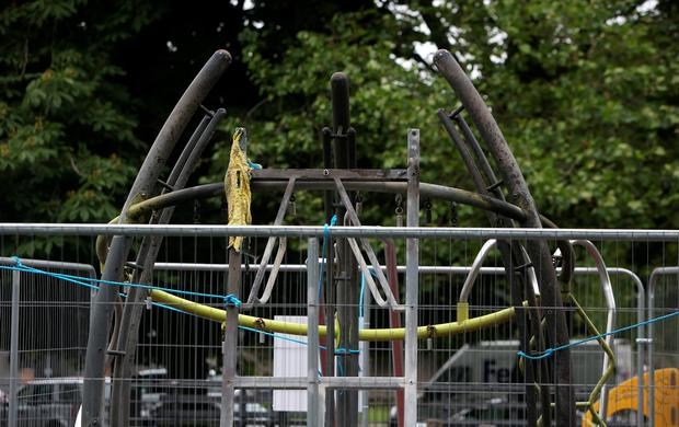 Griffith Park playground in Glasnevin which is closed due to fire damage. Picture credit; Damien Eagers