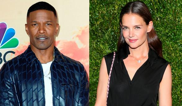 Jamie Foxx, and rumoured girlfriend Katie Holmes, right
