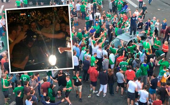 Scenes outside the Tír na nÓg bar in Lille