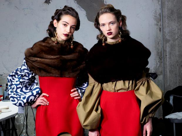 Drama: Neutral eyes and dark lips, as worn here by Mami models, make for an easy-to-achieve but stand-out look.